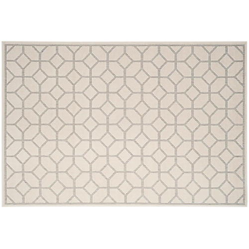 Cyllene Outdoor Rug, Light Gray/Cream