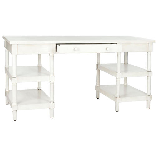 nobles desk whitewash