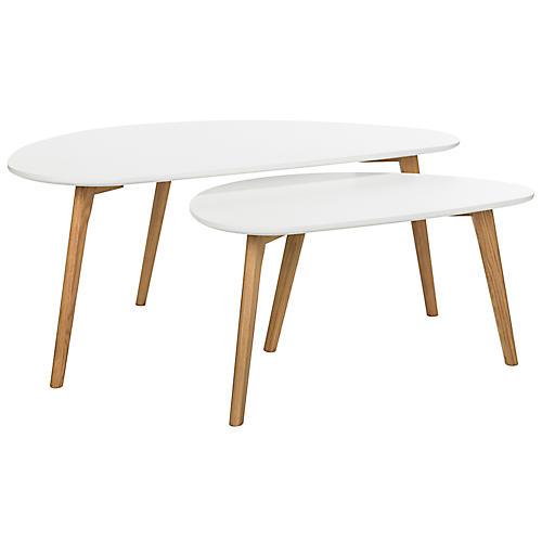 Asst. of 2 Kessler Coffee Tables, White