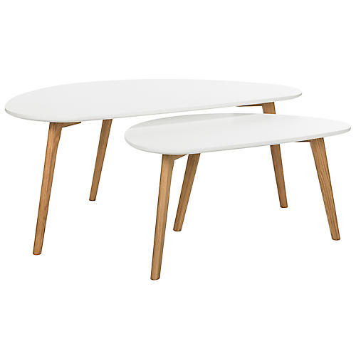 Asst. of 2 Kessler Coffee Tables, White