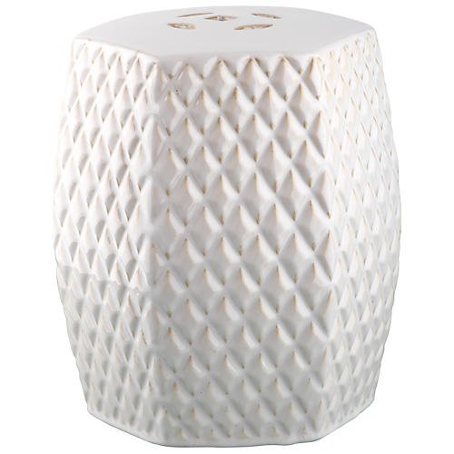 Lourdes Mini Garden Stool, Cream