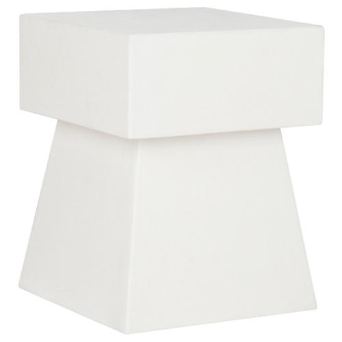Laine Outdoor Side Table, Ivory