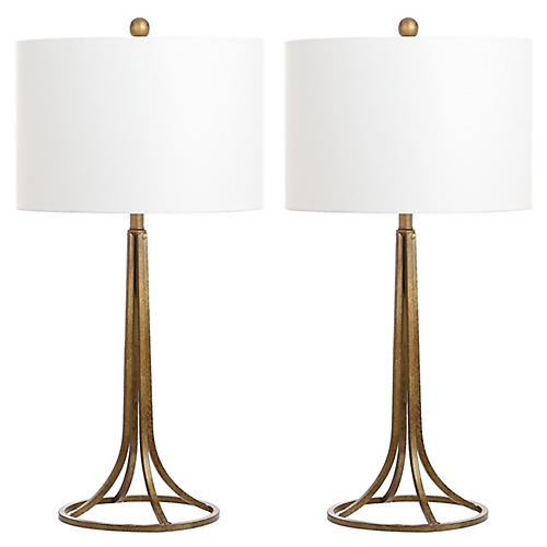 S/2 Mabry Table Lamps, Antiqued Bronze