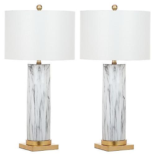S/2 Abdella Table Lamps, Black/White