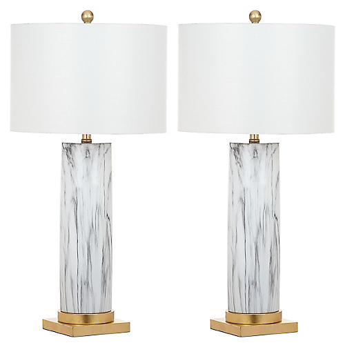 S/2 Abdella Table Lamps, Black/White