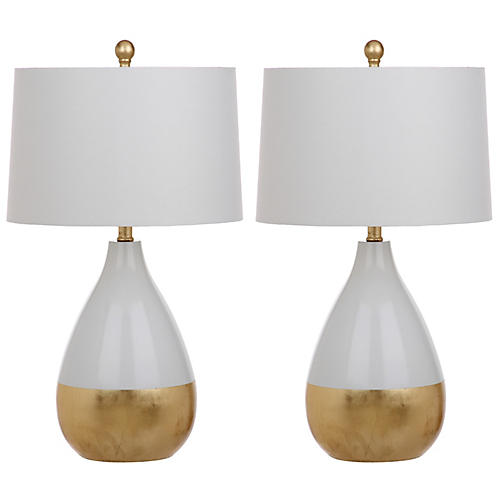 S/2 Caudell Table Lamps, White/Gold