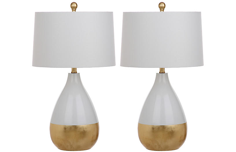 S/2 Claudia Table Lamps, White/Gold