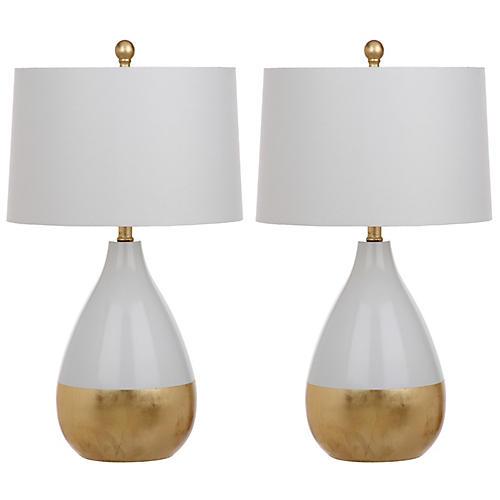 S 2 Caudell Table Lamps White Gold, One Kings Lane Corrine Table Lamp