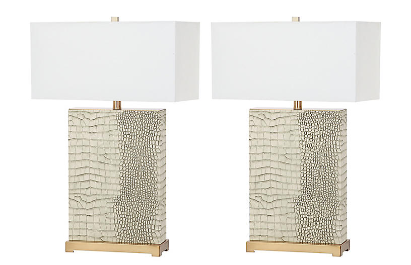 S/2 Caceda Table Lamps, Cream