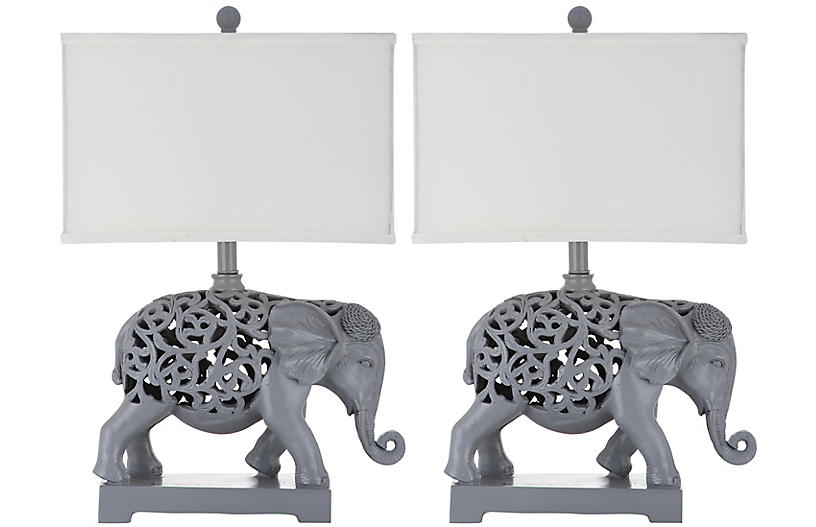 S/2 Hathi Table Lamps, Light Gray