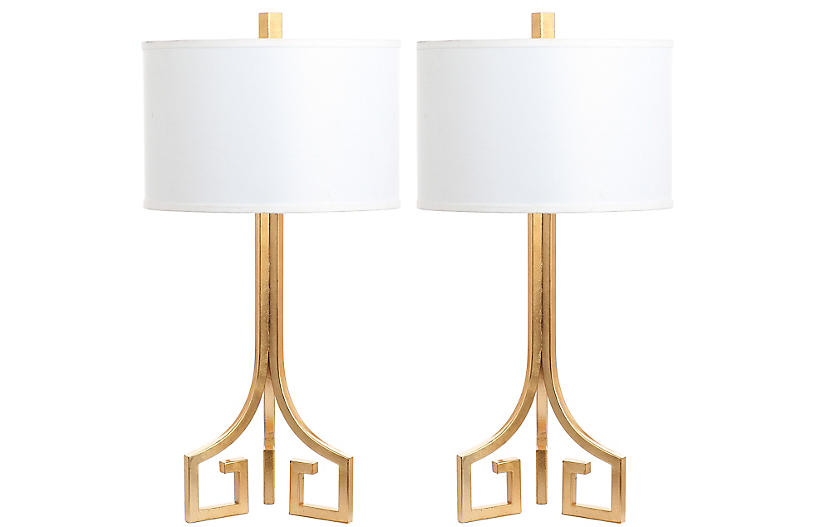 S/2 Arabelle Table Lamps, Gold