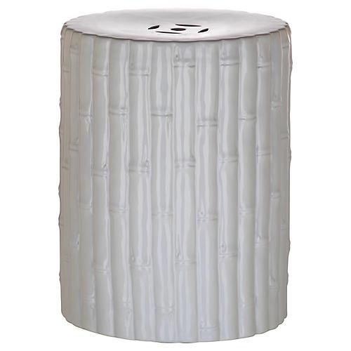 Bamboo Stool, White