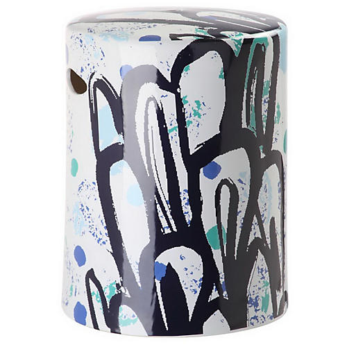 Alair Garden Stool, Blue/Multi
