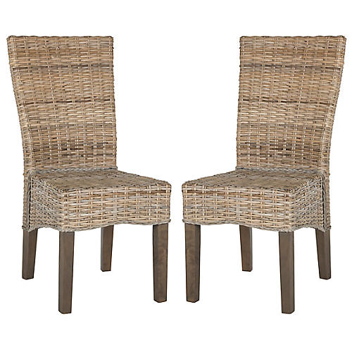 S/2 Ozias Side Chairs, Whitewash