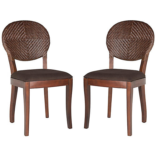 S/2 Prisco Side Chairs, Natural