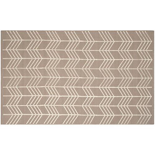 Caplin Flat-Weave Rug, Beige/Ivory