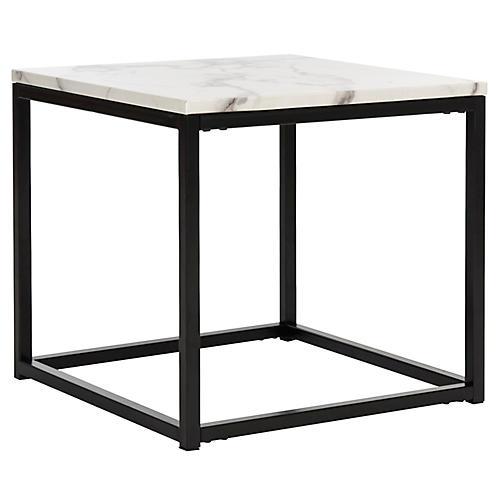 Cuevas Side Table, White/Gray