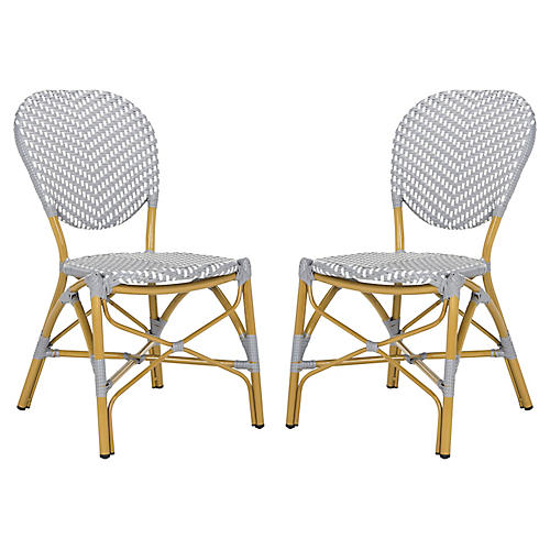 S/2 Ariel Stacking Side Chairs, Gray/White