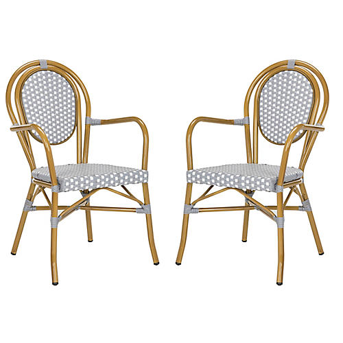 S/2 Sierra Stacking Armchairs, Gray/White