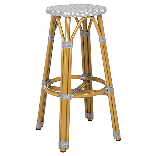 Itzel Outdoor Barstool, Gray/White