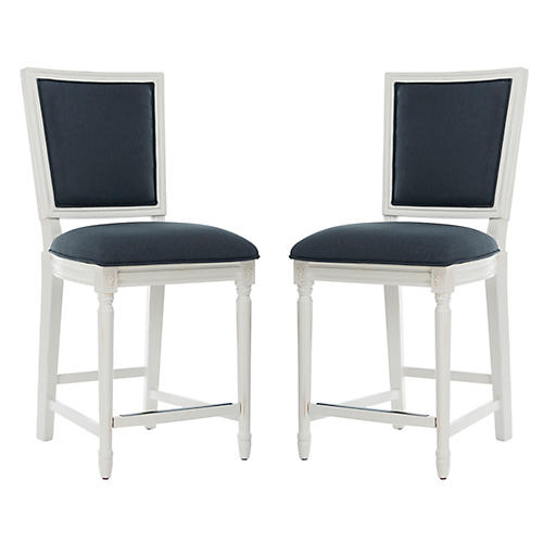 S/2 Norwich Counter Stools, Navy Linen