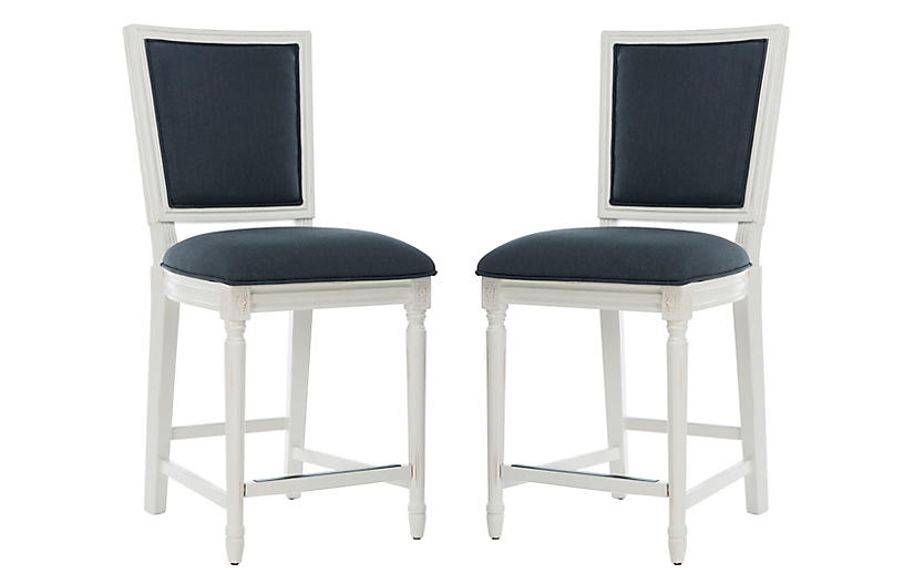 Peachy S 2 Norwich Counter Stools Navy Linen Gmtry Best Dining Table And Chair Ideas Images Gmtryco