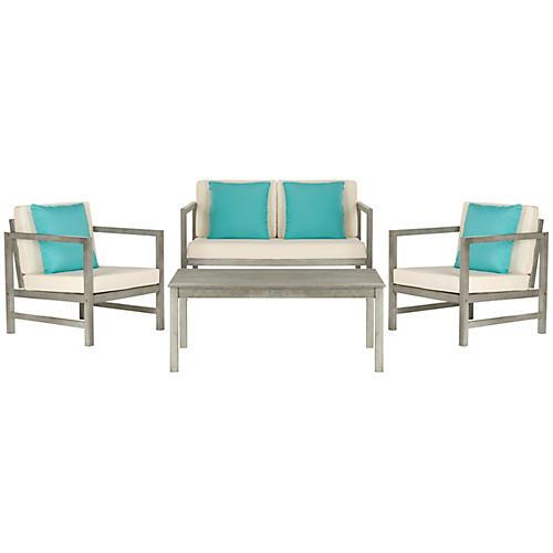 Albury 4-Pc Outdoor Lounge Set, Turquoise/White
