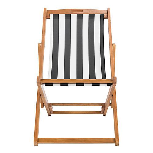 Loren Deck Chair, Black/White