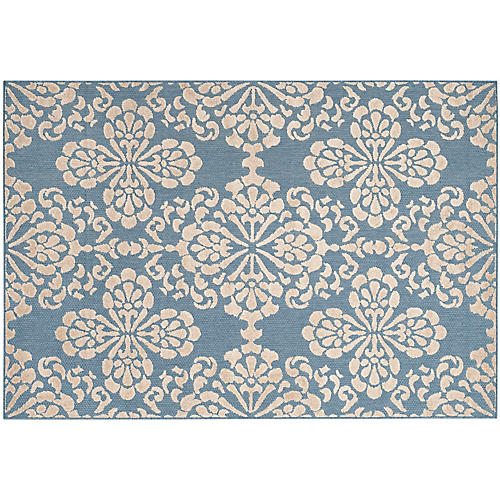 Joslyn Outdoor Rug, Light Blue/Beige