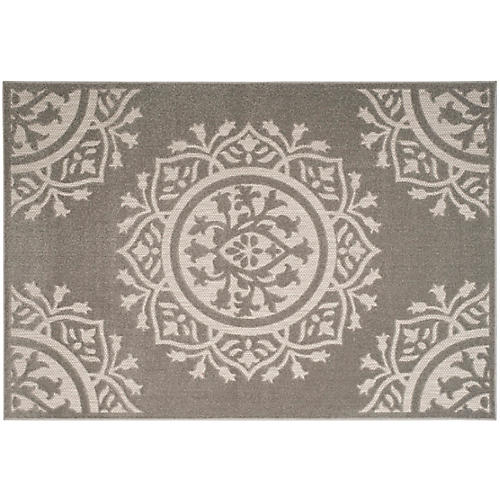 Sinclair Outdoor Rug, Gray/Light Gray