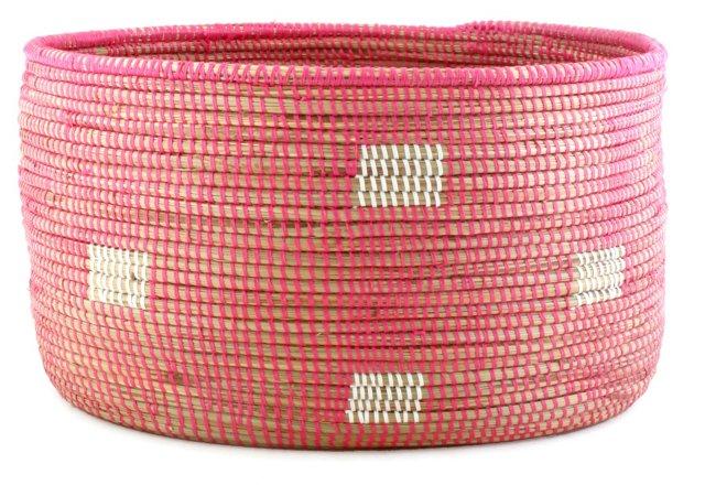 Dotted Knitting Basket, Pink