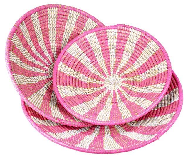 Asst of 3 Grain Baskets, Pink