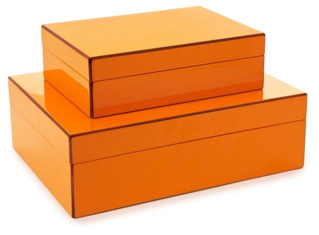 Orange Elle Lacquer Boxes, Asst. of 2