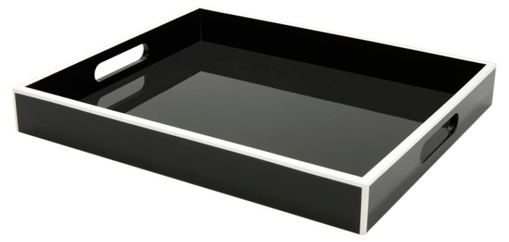 Elle Lacquer Tray, Black