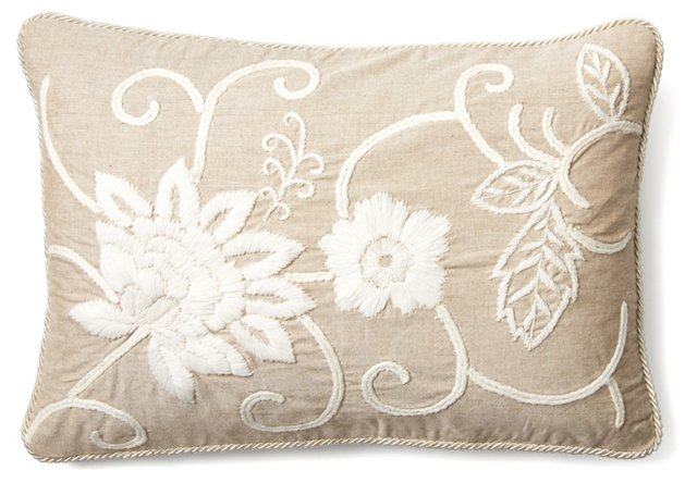 Botany 16x22 Embroidered Pillow, Taupe