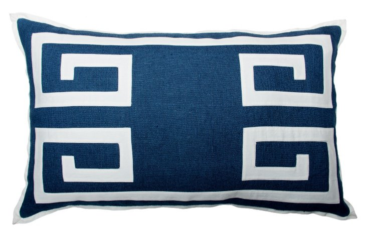Greek Key 18x30 Pillow, Navy