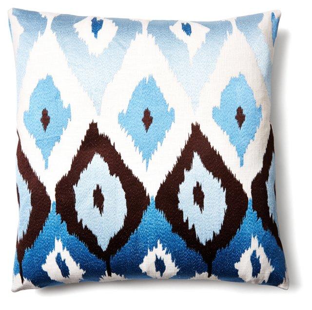 Modet 24x24 Linen-Blend Pillow, Blue