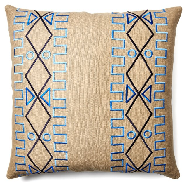 Lyon 24x24 Embroidered Pillow, Beige