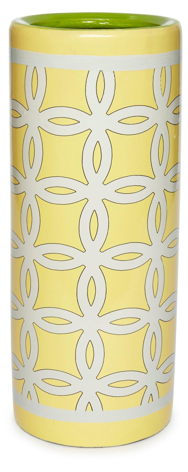 """13"""" Lattice Vase, Yellow"""