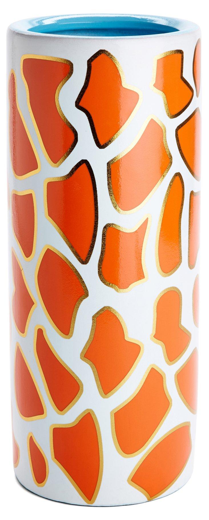 "13"" Giraffe Print Vase"
