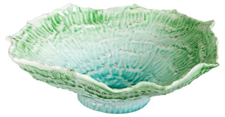 Organica Round Bowl, Palm Green/Aqua