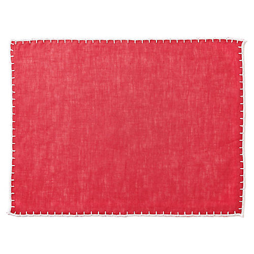 S/4 Whipstitch Place Mats, Cranberry