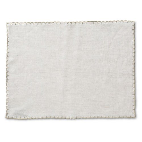 S/4 Whipstich Place Mats, Oatmeal