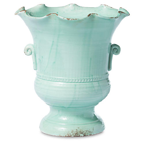 "17"" Rustic Garden Scalloped Footed Planter, Aqua"