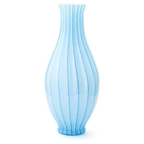 """22"""" Marea Striped Vase, Light Blue"""