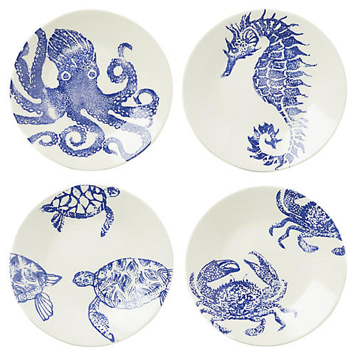 Asst. of 4 Costiera Dinner Plates, Blue