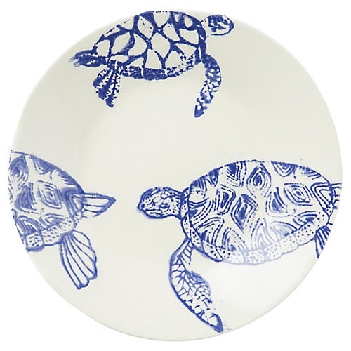Costiera Turtle Dinner Plate, Blue