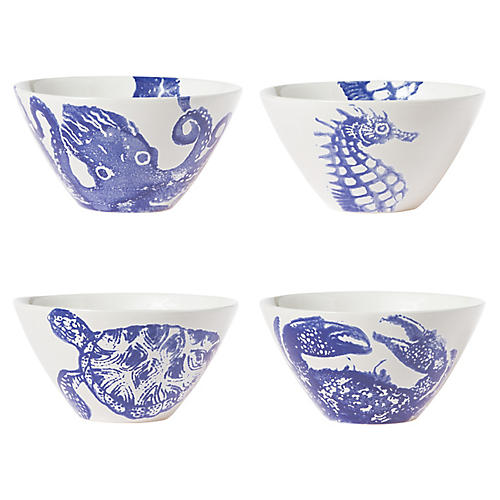 Asst. of 4 Costiera Cereal Bowls, Blue