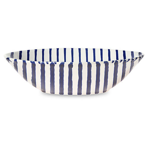 Net & Stripe Stripe Pasta Bowl, Blue