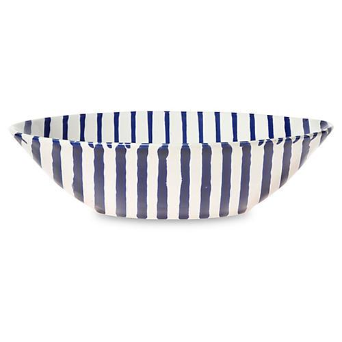 Net & Stripe Stripe Pasta Bowl, Blue